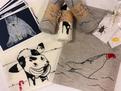 Local hand made and designed lino prints, gift cards and tea towels by Moody Moose